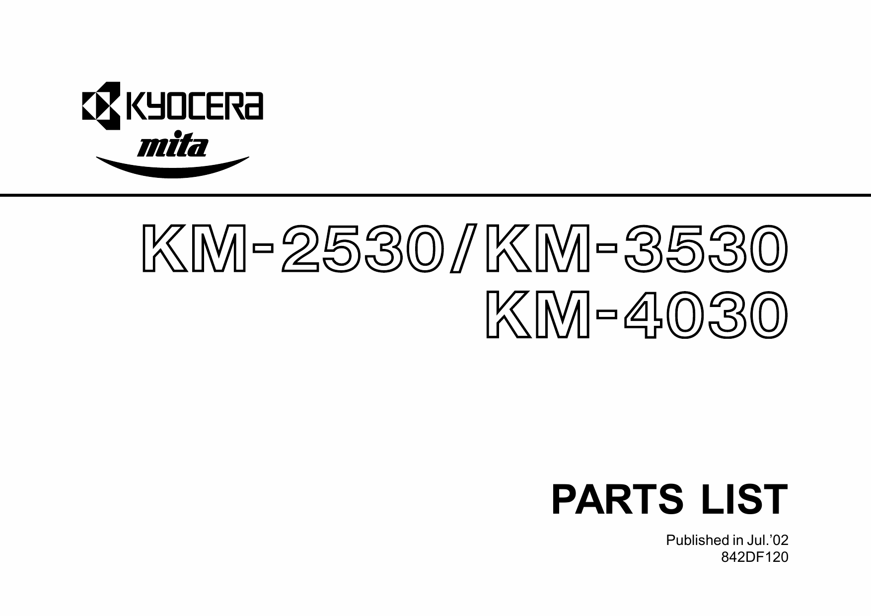 KYOCERA Copier KM-2530 3530 4030 Parts Manual-1